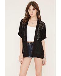 Forever 21 - Black Crochet-paneled Kimono - Lyst