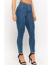 Forever 21 - Blue Women's High-waist Skinny Jeans - Lyst