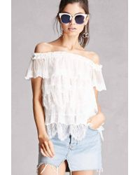 98ce2b102ec654 Lyst - Forever 21 Sheer Lace Off-the-shoulder Top in White