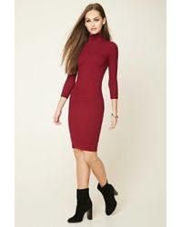 Forever 21 - Red Turtleneck Midi Dress - Lyst