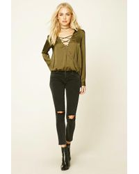 Forever 21 - Green Contemporary Satin Lace-up Top - Lyst