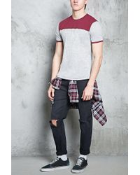 Forever 21 - Gray Colorblock Ringer Tee for Men - Lyst