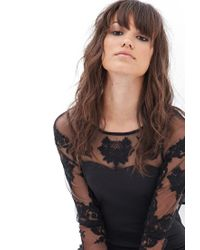 Forever 21 - Black Embroidered Scuba Knit Dress - Lyst