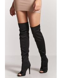 Forever 21 - Black Over-the-knee Open-toe Boots - Lyst