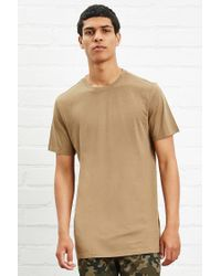 Forever 21 - Natural Cotton-blend Longline Tee for Men - Lyst