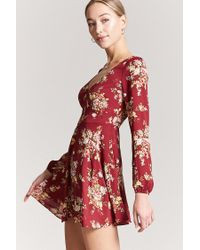 Forever 21 - Red Women's Floral Woven Mini Dress - Lyst