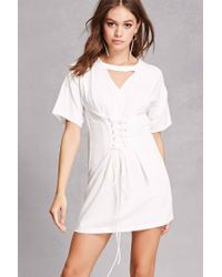 3638a66f53d Lyst - Forever 21 Corset T-shirt Dress in White