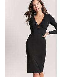 Forever 21 - Black Women's Twist-front Bodycon Dress - Lyst