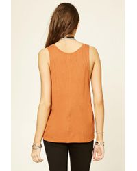 Forever 21 - Orange Ribbed Knit Tank - Lyst