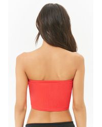 Forever 21 - Red Seamless Ribbed Bandeau - Lyst