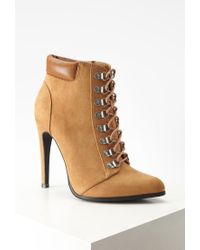 Forever 21 - Brown Faux Suede Lace-up Booties - Lyst