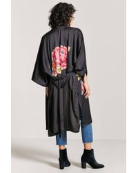 Forever 21 - Black Self-tie Floral Kimono - Lyst