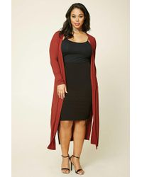 Forever 21 - Red Plus Size Longline Knit Cardigan - Lyst