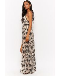 Forever 21 - Black Floral Mesh Overlay Bodysuit Gown - Lyst