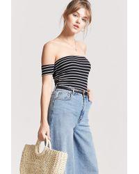 Forever 21 Black Women's Stripe Off-the-shoulder Crop Top