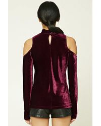 Forever 21 - Purple Velvet Open-shoulder Top - Lyst