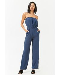 09c0cfb47afe Lyst - Forever 21 Women s Strapless Woven Jumpsuit in Blue