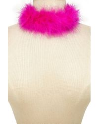 Forever 21 - Pink Faux Feather Choker - Lyst