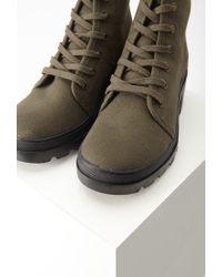 Forever 21 - Green Canvas Lug Platform Boots - Lyst
