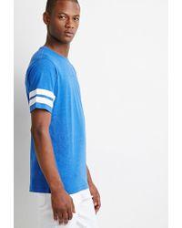 Forever 21 - Blue Varsity-stripe Tee for Men - Lyst