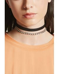 Forever 21 | Multicolor Chain Faux Leather Choker Set | Lyst