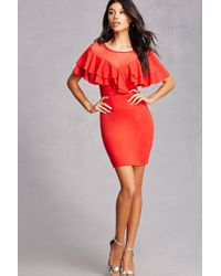 3a88909c1472 Lyst - Forever 21 Ruffle Illusion Bodycon Dress in Red