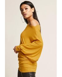 Forever 21 Yellow Off-the-shoulder Dolman Top