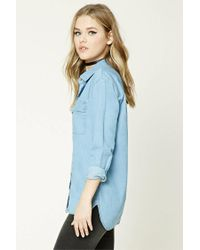 Forever 21 - Blue Dolphin Hem Denim Shirt - Lyst