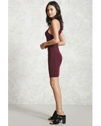 Forever 21 - Red Ribbed Bodycon Dress - Lyst