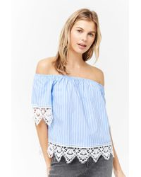 c12a655b3d61db Lyst - Forever 21 Crochet Lace Off-the-shoulder Top in Blue