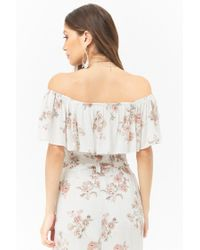 Forever 21 - White Women's Anm Off-the-shoulder Floral Top - Lyst