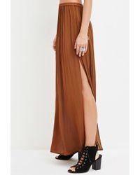 Forever 21 - Brown Side-slit Satin Maxi Skirt - Lyst