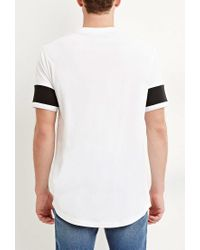 Forever 21 - White Colorblocked-sleeve Cotton Tee for Men - Lyst