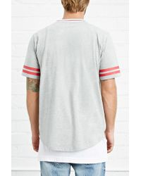 Forever 21 - Gray Varsity-striped Heathered Tee for Men - Lyst