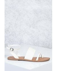 Forever 21 - White Ankle-strap Braided Sandals - Lyst