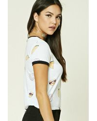 Forever 21 White Cheeseburger Graphic Tee