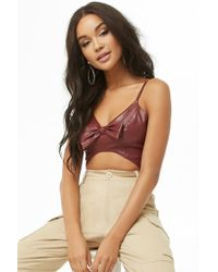 Forever 21 - Multicolor Faux Leather Bow Cropped Cami - Lyst