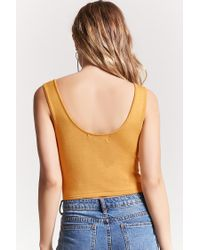 Forever 21 - Multicolor Jumper Knit Lace-up Crop Top - Lyst