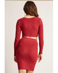 Forever 21 - Red Marled Asymmetrical Crop Top - Lyst