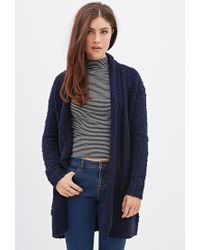 5e118a903 Lyst - Forever 21 Chunky Knit Longline Cardigan in Blue
