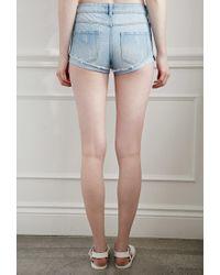 Forever 21 - Blue Ripped Denim Shorts - Lyst