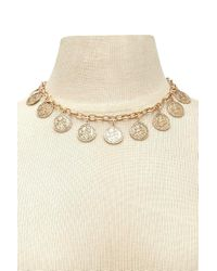 Forever 21 - Metallic Etched Coin Necklace - Lyst