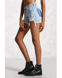 Forever 21 - Blue Frayed Mid-rise Denim Shorts - Lyst