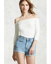 dce15b0f73e80e Forever 21. Women s Ribbed Off-the-shoulder Top