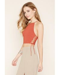 Forever 21 - Orange Lace-up Cropped Cami - Lyst