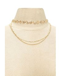 Forever 21 - Metallic Layered Rose Choker - Lyst
