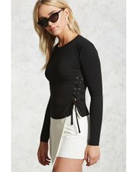 Lyst - Forever 21 Ribbed Knit Lace-up Crop Top in Black 85a9ffee6