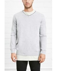Forever 21 Gray Varisty V-neck Jumper for men