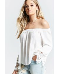 0cb1f64039482d Lyst - Forever 21 Off-the-shoulder Flare Top in White