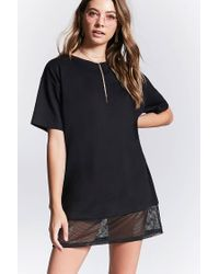 1ac1d7873f Forever 21 Mesh Trim T-shirt Dress in Black - Lyst